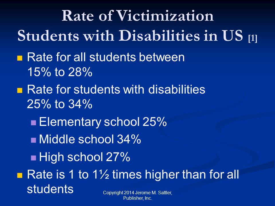 Rate of Victimization Students with Disabilities in US [1]